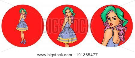 Vector illustration, womens pop art round avatar icon for users of social networking, blogs. Girl in a hat and retro dress with a naked back looked back