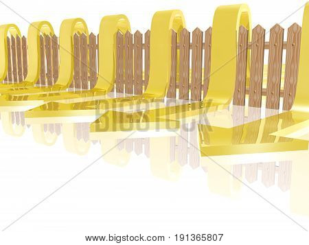 Yellow arrows and fence on white reflective background 3D illustration.