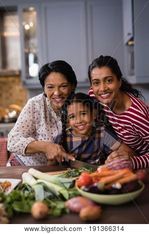Portrait of smiling multi-generation family preparing food together in kitchen at home