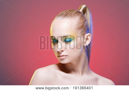 Beautiful woman with bright makeup.Cosmetology , beauty