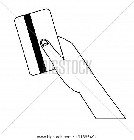 hand holds credit card payment purchase transaction vector illustration
