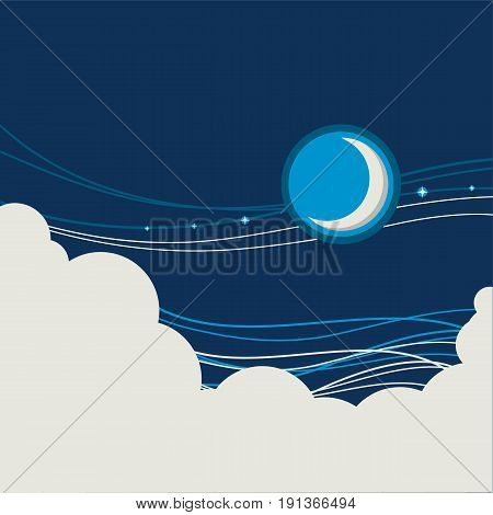 Night Sky Poster Background With Half Moon And Clouds