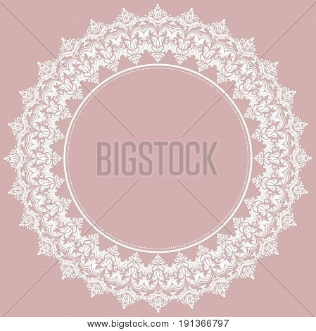 Oriental pattern with arabesques and floral white elements. Traditional classic ornament. Vintage pattern with arabesques