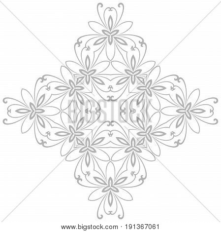 Oriental light silver pattern with arabesques and floral elements. Traditional classic ornament. Vintage pattern with arabesques