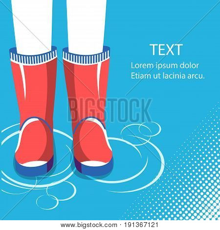 Rain Background.human Legs In Red Rubber Boots