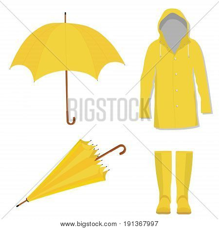 Raincoat, Boots And Umbrellla