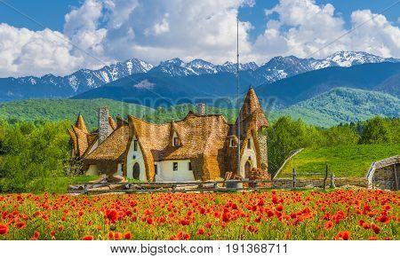 Clay Castle of the Valley of Fairies Porumbacu village Sibiu landmark Romania