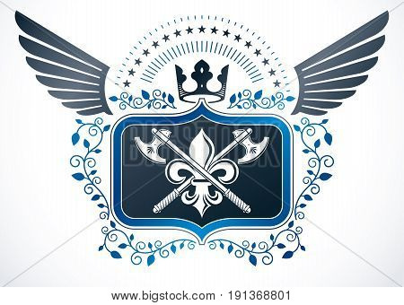Vintage winged emblem created in vector heraldic design and composed using hatchets and royal crown.