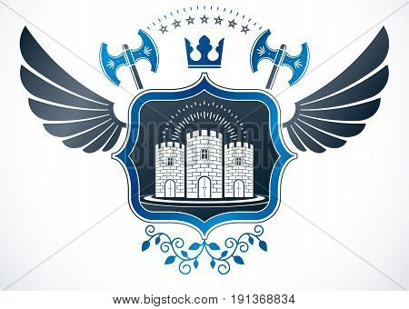 Vintage winged emblem created in vector heraldic design and composed using hatchets and medieval stronghold.