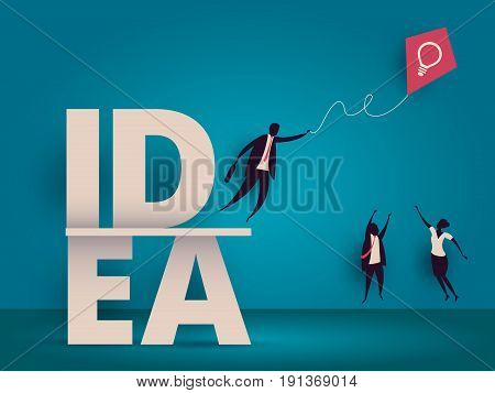 Business Idea Concept. Managers Struggling For Kite With Lightbulb As Metaphor For Innovation Or Sta