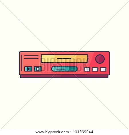 Vhs Vector Flat Linear Icon. Vcr Hipster Device Symbol In Bright Trendy Colors. Old Electronic Gadge