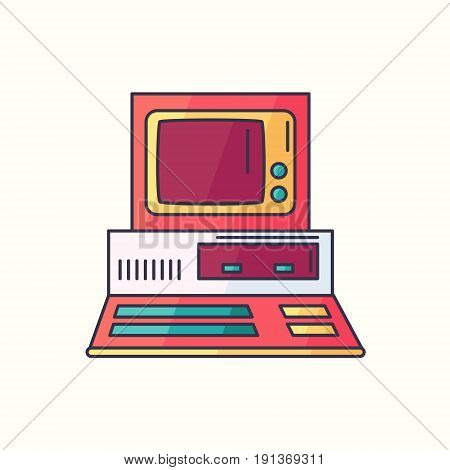 Retro Pc Flat Linear Icon. Old Personal Computer Symbol In Bright Trendy Colors. Hipster Electronic