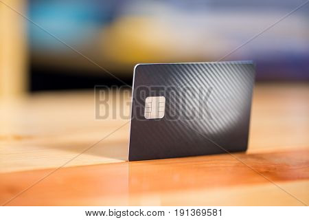 Credit Card On The Table. Shallow Focus And Soft Tone.