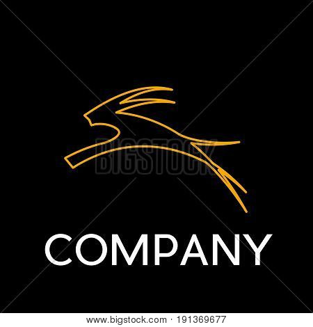 Vector sign abstract antelope in linear style on black background