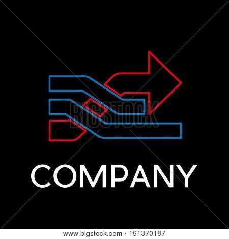 Vector sign abstract overtaking with arrow in linear style on black background
