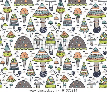 Hand drawn seamless pattern with geometric ornamental mushroom and toadstools. Vector illustration for fabric or wrap paper design.