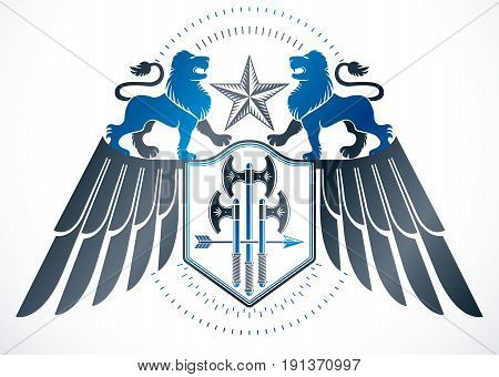 Heraldic winged sign created with vector vintage elements like wild lions pentagonal stars and hatchets.