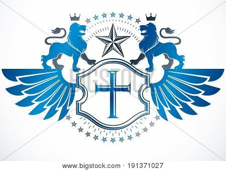 Heraldic sign created with vector vintage elements like with wild lions religious cross and royal crown.