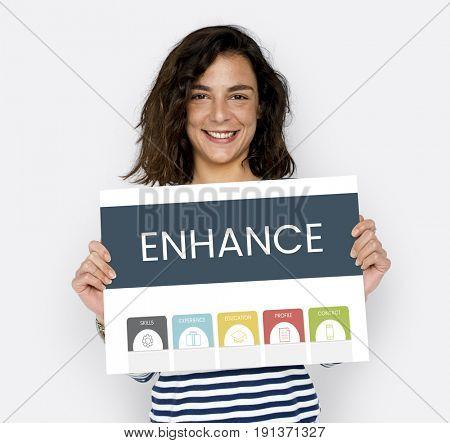 Caucasian Woman Holding Enhance Placard