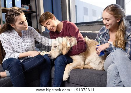 Group of teenagers having fun together with golden retriever dog indoors teenagers having fun concept