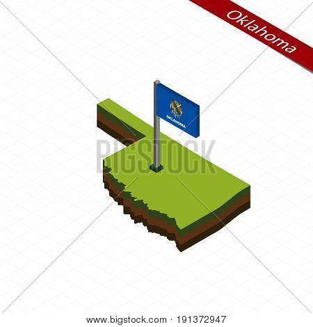 Oklahoma Isometric Map And Flag. Vector Illustration.