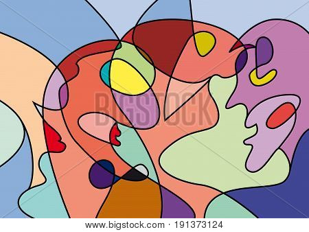 abstract people in confusion colorful vector background