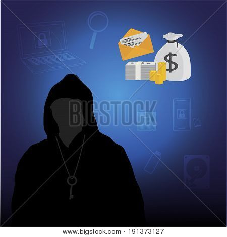 Business data has been encrypted. malware attack. ransom malware name is wanna cry. vector illustration.