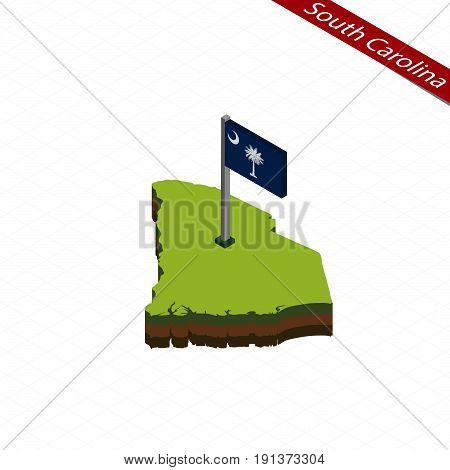 South Carolina Isometric Map And Flag. Vector Illustration.