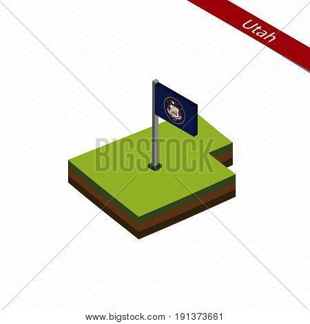 Utah Isometric Map And Flag. Vector Illustration.