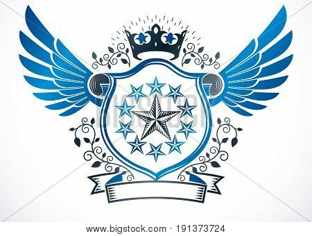 Winged heraldic sign made with vector vintage elements like monarch crown and pentagonal stars. Protection shield with cartouche
