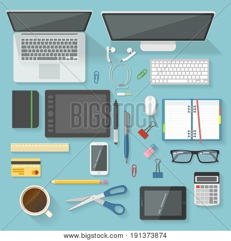 Workspace elements top view set with devices stationery calculator coffee cup banking card glasses headphones isolated vector illustration