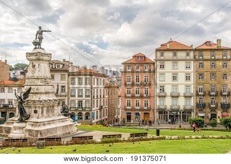 PORTO,PORTUGAL - MAY 13,2017 - Monument of Henry the Navigator in Porto. Porto is one of the oldest European centres and its historical core was proclaimed a World Heritage Site by UNESCO in 1996.