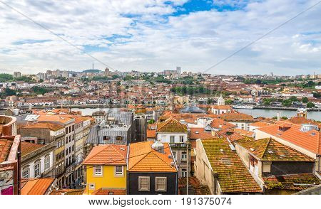 PORTO,PORTUGAL - MAY 13,2017 - View at the roofs of Porto. Porto is one of the oldest European centres and its historical core was proclaimed a World Heritage Site by UNESCO in 1996.