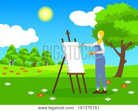 Colorful light painting template with female artist drawing nature landscape on white canvas vector illustration
