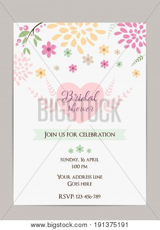 Bridal shower invitation template. Simple design with abstract flowers and branches