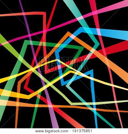 Vector geometric abstract confusion colorful black background