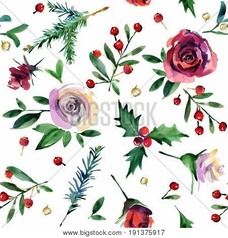 watercolor Christmas seamless pattern. rosa flower, holly, pine branch, berries watercolor illustration. background  for winter holidays