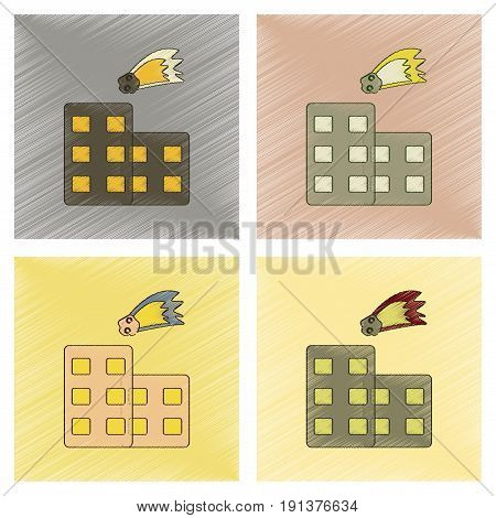 assembly flat shading style icon of meteorite falling on house