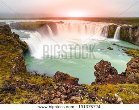 Godafoss waterfall at sunset time, northern Iceland.