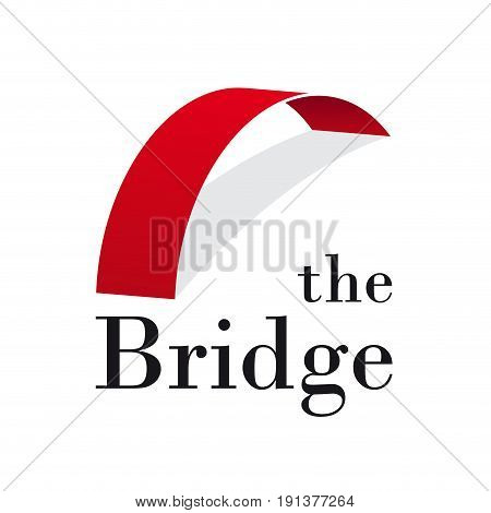Vector abstract bridge connection concept on white
