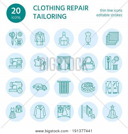 Clothing repair, alterations flat line icons set. Tailor store services - dressmaking, clothes steaming, curtains sewing. Linear signs set, logos for atelier. poster