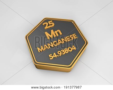 manganese - Mn - chemical element periodic table hexagonal shape 3d illustration