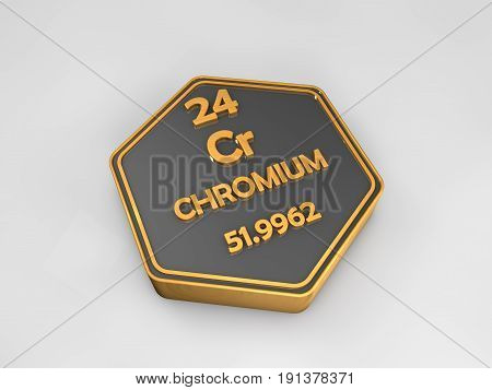 chromium - Cr - chemical element periodic table hexagonal shape 3d illustration