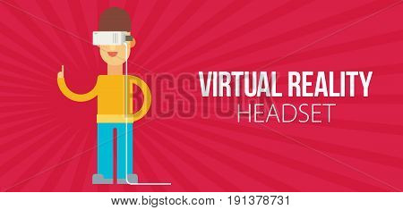 A Man With Isometric Virtual Reality Headset.