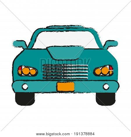 car frontview icon image vector illustration design  sketch style