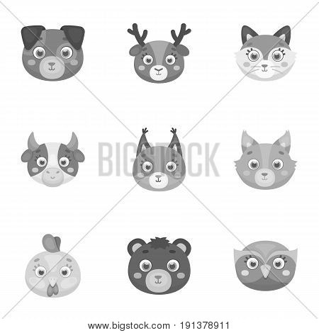Wild and domestic animals. A set of pictures about animals.. Animal muzzle icon in set collection on monochrome style vector symbol stock web illustration.