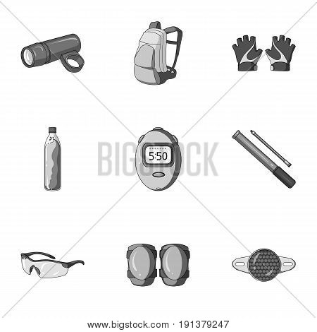 Icons of Cycling, bike. Set for bike, backpack protection, repair, form. Cyclist outfit icon in set collection on monochrome style vector symbol stock web illustration.
