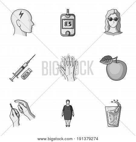 A set of icons about diabetes mellitus. Symptoms and treatment of diabetes. Diabetes icon in set collection on monochrome style vector symbol stock web illustration.