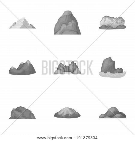 Set of icons about different mountains. Winter, summer mountains in one collection.Different mountains icon in set collection on monochrome style vector symbol stock web illustration.