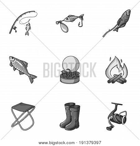 Summer and winter fishing, outdoor recreation, fishing, fish.Fishing icon in set collection on monochrome style vector symbol stock web illustration.
